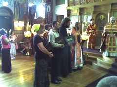 Graduating Class '2007 - Matthew Harrington, Mrs. Ruth Hrebinka, Rdr. Philosophos Uhlman, Priest Michael van Opstall (Rdr. Samouil Vichnevskii from Victoria, Australia - absent) at the Cathedral of the Protection of the Mother of God in Des Plaines, Illinois